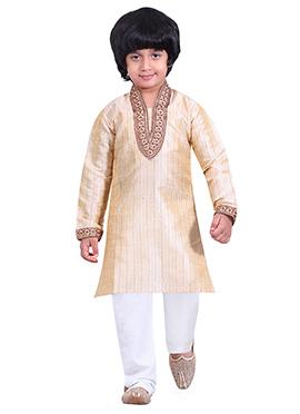 Kids Cream Cotton Kurta Pyjama