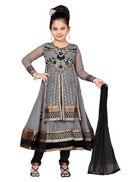 Kids Grey Net Anarkali Suit