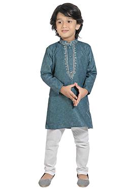 Kids Light Teal Blue Cotton Kurta Pyjama