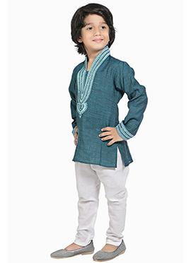 Kids Light Teal Cotton Kurta Pyjama