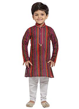 Kids Multicolored Cotton Kurta Pyjama