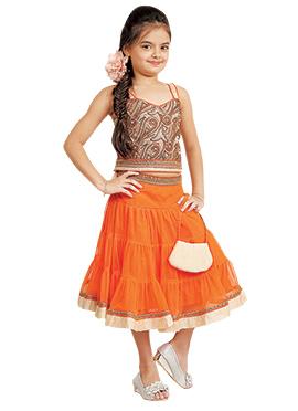 Kids Orange Lehenga Choli