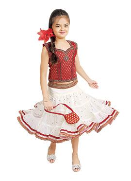Kids Red N White Lehenga Choli