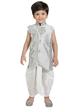 Kids Silver Colored Dhoti Kurta Set
