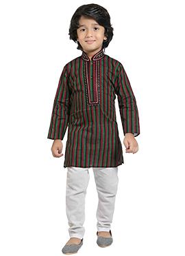Kids Tricolored Cotton Kurta Pyjama