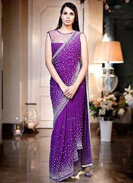 Kisneel by Pam Purple Pure Georgette Saree