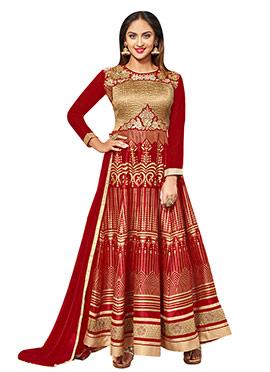 Krystle Dsouza Regal Red Anarkali Suit