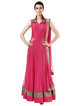 Ks Couture Cerise Pink Ankle Length Anarkali