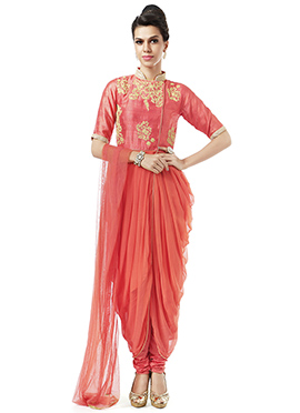 Ks Couture Coral Peach Cowl Style Suit
