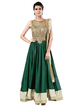 Ks Couture Green N Beige Floor Length Anarkali