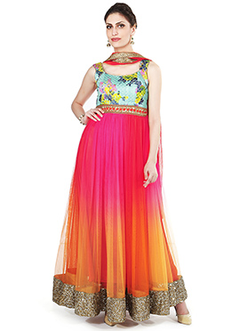 Ks Couture Multicolored Ankle Length Anarkali