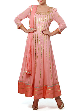Ks Couture Peach Georgette Ankle Length Anarkali
