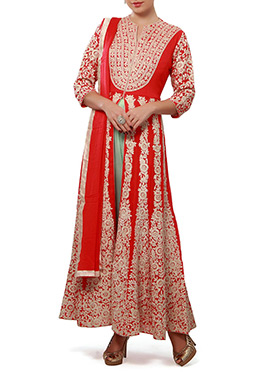 Ks Couture Red Center Slit Anarkali Suit