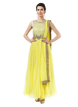 Ks Couture Yellow Net Ankle Length Anarkali