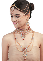 Multicolored Bejewelled Bridal Set