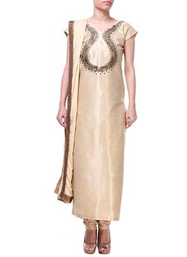 Label ISHI Golden Beige Churidar Suit