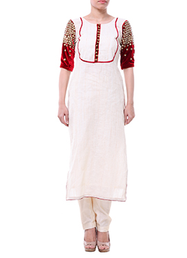 Label ISHI Off White Raw Silk Churidar Suit