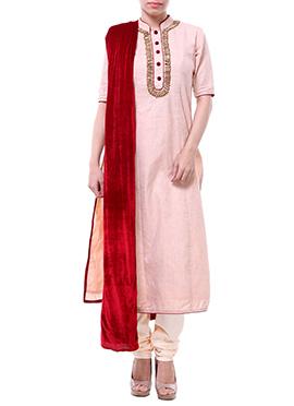Label ISHI Pink Raw Silk Churidar Suit