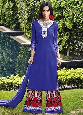 Lapis Blue Cotton N Jacquard Palazzo Suit