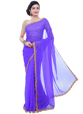 Lavender Blue Chiffon Cut worked Border Saree