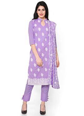 Lavender Cambric Cotton Straight Pant Suit