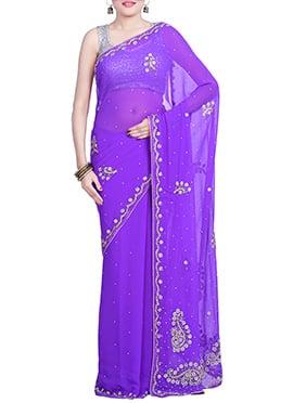 Lavender Chiffon Hand Embroidered Saree