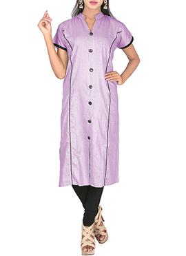 Lavender Hand loom Cotton Kurti