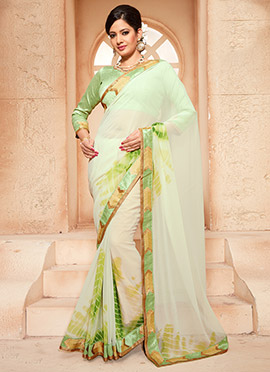 Leheriya Pattern Georgette Off White Saree