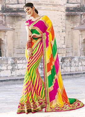 Leheriya Patterned Multicolored Saree