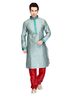 Light Aqua Blue Art Dupion Silk Kurta Pyjama