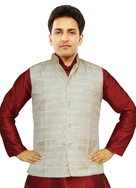 Light Beige Art Matka Silk Nehru Jacket