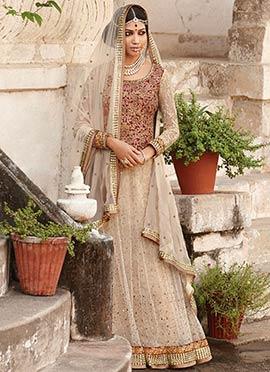 Light Beige Embroiderd Anarkali Suit