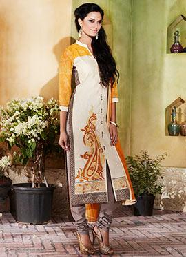Light Beige Embroidered Churidar Suit