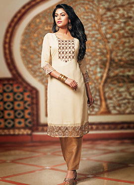 Light Beige Georgette Kurti