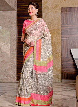 Light Beige N Black Cotton Printed Saree