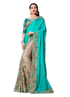 Light Beige N Teal Green Half N Half Saree