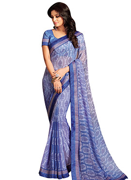 Light Blue Chiffon Saree