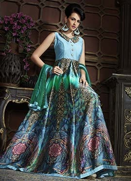 Light Blue N Green Satin Anarkali Suit
