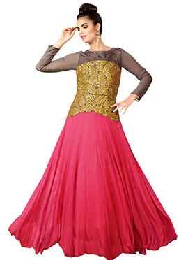 Light Brown N Pink Anarkali Gown