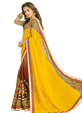 Light Brown N Yellow Half N Half Saree
