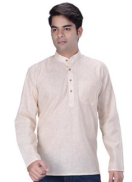 Light Cream Linen Cotton Short Kurta