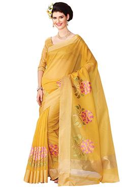 Light Yellow Embroidered Saree