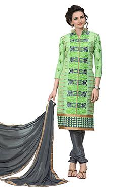 Light Green Chanderi Cotton Churidar Suit