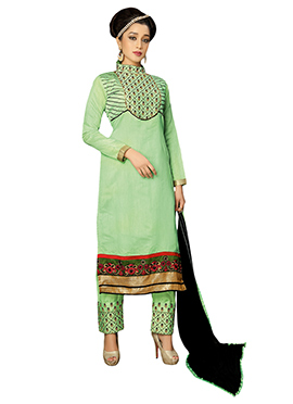 Light Green Chanderi Silk Straight Pant Suit