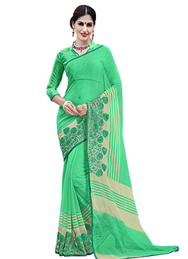 Light Green Chiffon Foliage Patterned Saree