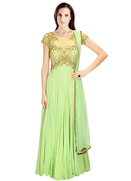 Light Green Embellished Georgette Anarkali Suit