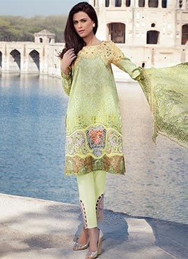 Light Green Lawn Cotton Straight Pant Suit