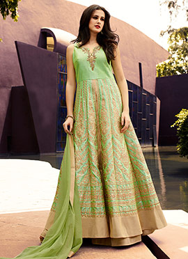 Light Green Long Choli Lehenga