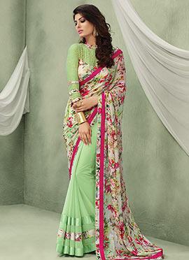 Light Green N Multicolored Half N Half Saree