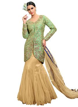 Light Green Silk Long Choli Lehenga